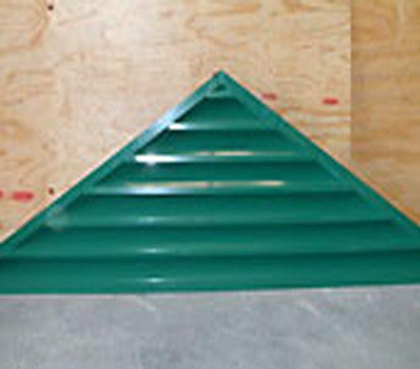 a green triangle gable louver